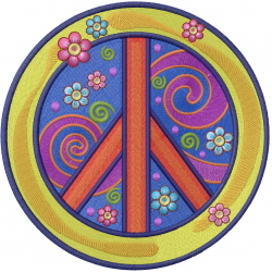 Hippie Peace Sign embroidery design