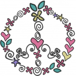 Peace Sign Scribbles embroidery design