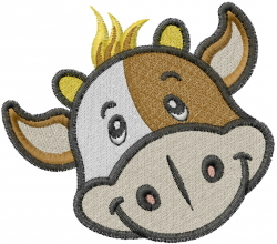 Baby Cow Head embroidery design