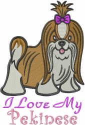 Love My Pekinese embroidery design
