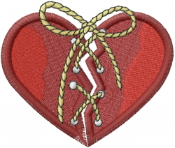 Stitched Valentine Heart embroidery design