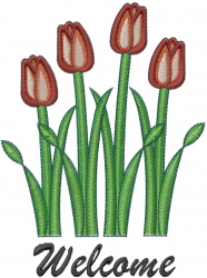 Tulips Welcome embroidery design