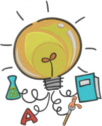 Science Light Bulb embroidery design