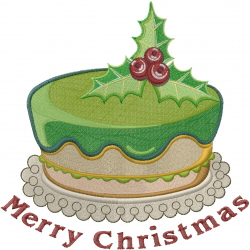 Merry Christmas Cake embroidery design