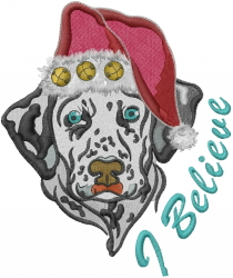 Christmas Dalmation Believe embroidery design