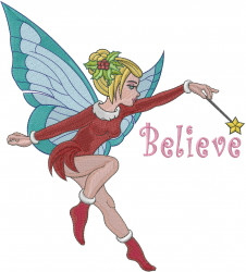 Christmas Fairy Believe embroidery design