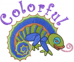 Colorful Reptile embroidery design