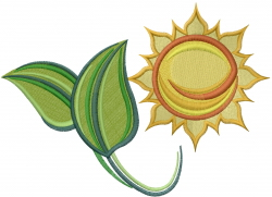 Go Green Sun embroidery design