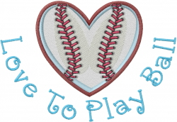 Love to Play Ball embroidery design