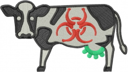 Toxic Symbol Cow embroidery design