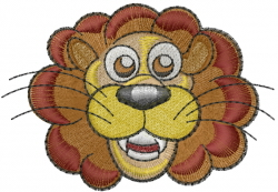 African Lion Head embroidery design