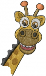 African Giraffe Head embroidery design