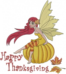 Happy Thanksgiving Fairy embroidery design