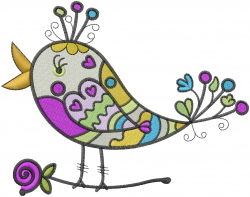 Colorful Bird embroidery design