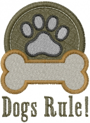 Dogs Rule embroidery design