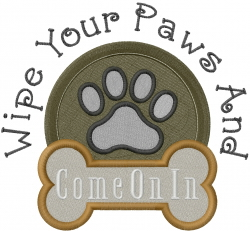 Wipe Paws embroidery design