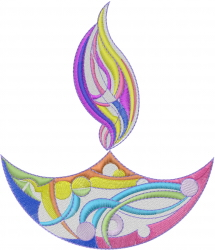 Happy Diwali Lamp embroidery design