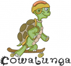 Turtle Cowabunga embroidery design