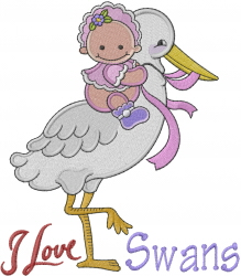 I Love Swans embroidery design