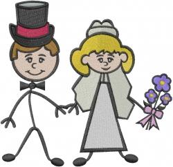 Bride & Groom embroidery design