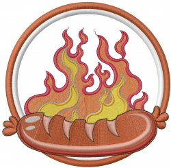 Flame & Sausage embroidery design