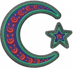 Islam Crescent Moon embroidery design