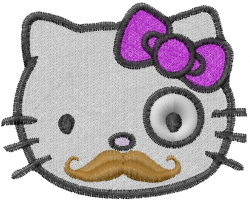 Kitty Mustache embroidery design