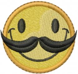 Mustache Happy Face embroidery design
