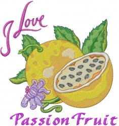I Love Passion Fruit embroidery design