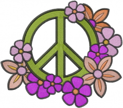 Peace Sign Flowers embroidery design