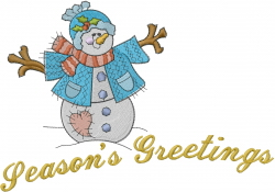 Seasons Greetings Snowman embroidery design