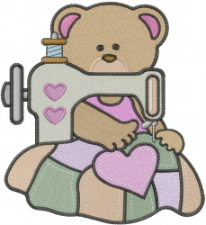 Seamstress Bear embroidery design