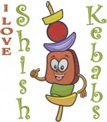 I Love Shish Kebabs embroidery design