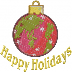 Happy Holidays Ornament embroidery design