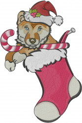 Christmas Stocking Puppy embroidery design