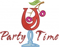 Party Time Cherry Cocktail embroidery design