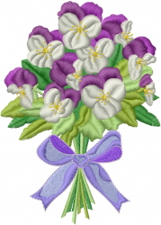 Johnny Jump Up Bouquet embroidery design