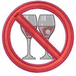 No Drinking embroidery design
