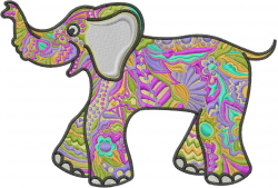 Colorful Elephant embroidery design
