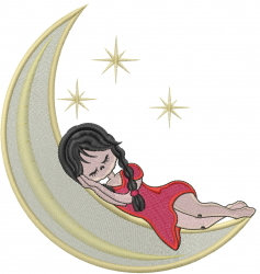 Girl On Moon embroidery design