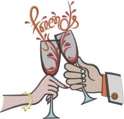 Wine Friends embroidery design