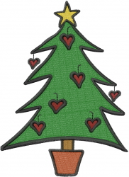 Hearts Christmas Tree embroidery design