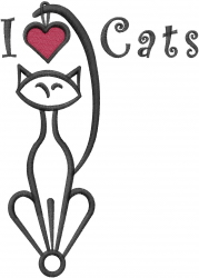 I Love Cats embroidery design