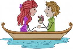 Valentine Love Boat embroidery design