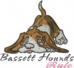 Bassett Hounds Rule embroidery design