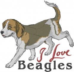 I Love Beagles embroidery design