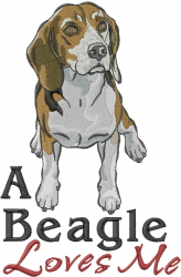 Beagle Loves Me embroidery design