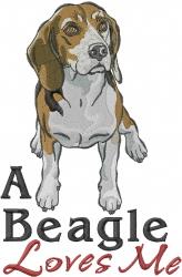Beagle Loves Me embroidery design