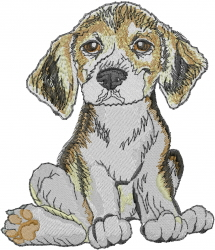 Beagle Sitting embroidery design