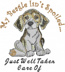 Spoiled Beagle embroidery design